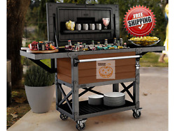 Keter Patio Cooler And Beverage Cart Double Wall W/ Built In Bottle Opener