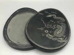Antique Chinese Ink Stone And Cover.