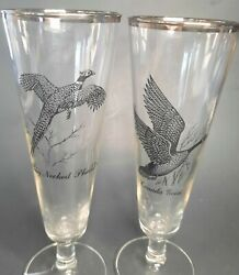 Vintage Mcm Ring Necked Pheasant And Geese Pilsner Silver Rimmed Beer Glasses