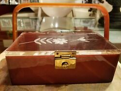 Vintage Asian Inspired Lucite Tortoise Box Purse