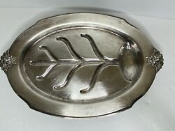 Vintage Silver Plate Meat Tray W/well Flower Ornate Holmes/edwards Spring Garden