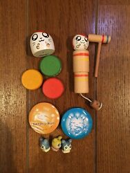 Japanese Antique Tottoko Hamutaro Hamtaro Wooden Toys And Tin Badge And Other Rare