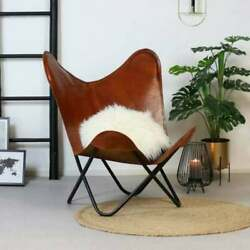 Leather Butterfly Chair Vintage Real Tan Brown Sleeper Seat Hide Lounge