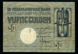 Netherlands Bank Banknote 29 April 1929 Issue Fifty Gulden P47 Pmg 25 Very Fine