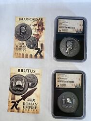 Roman Series 7k Ms 70 First 2 Coins Of 12 Caesar And Brutus