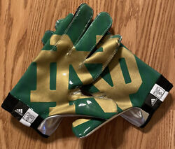 Rare Notre Dame Football 2013 Team Issued Shamrock Series Texas Green Nd Gloves