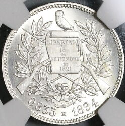 1894-h Ngc Ms 64 Guatemala Silver 2 Reales Quetzal Bird Justice Coin 21042102d