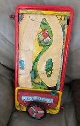 Antique Original Hand Crank Tin Litho Steering Driving Car Toy Game 1930s Old