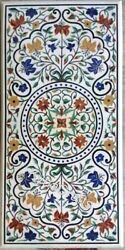30 X 60 Marble Dining Table Top With Multi Color Stone Inlay Art Center Table