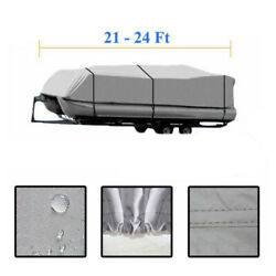 21-24ft 600d Oxford Fabric Waterproof Boat Cover With Storage Bag Gray
