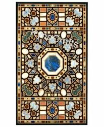 36 X 60 Inches Restaurant Table Top With Geometrical Work Marble Dining Table