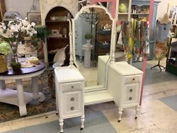 Antique Dressing Table Vanity White Soft Gray Silver Polished Pulls Mirror Wood