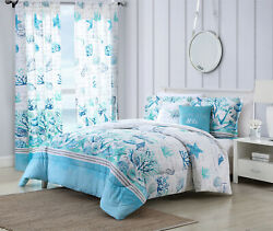 Twin Full/queen Or King Comforter Bed Set Or Window Curtains Coastal Seashell