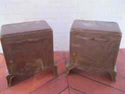 Vintage Arista 1950s Plasco Brown Marble Pair Living Room End Table Night Stands