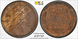 1909 S Vdb 1c Lincoln Wheat Cent Pcgs Au 53 About Uncirculated Key Date Wood ...