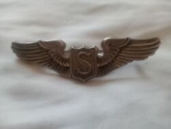 Ww2 Us Army Air Force Service Pilot Wing Pin Sterling American Emblem Ae Badge