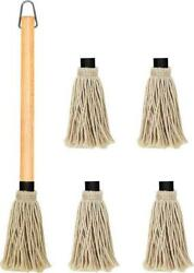 Bbq Grill Basting Mop Wooden Long Handle With 4 Extra Replacement Heads