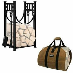 Amagabeli Fireplace Carrier Waxed Firewood Canvas Log Carrier Bundle 31.6in