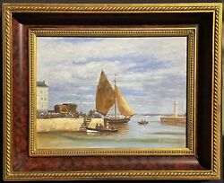 Signed French Impressionist Oil Painting - Fishing Boats In Honfleur Harbour