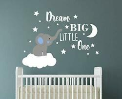 Dream Big Little One Elephant Wall Decal Quote Wall Stickers Bluewhiteboy
