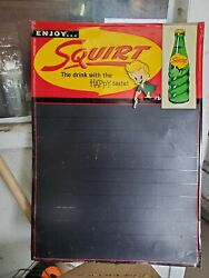 Antique Squirt Soda Tin Advertising Chalk Menu Board Sign Dated 1959 19.5x 28