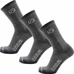 Merino Wool Medium Cushion Hiking Socks - 3 Pack X-large Granite