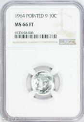 1964 Pointed 9 Roosevelt Silver Dime Ngc Ms66 Ft Fb B6-938-006