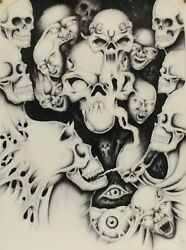 Shane Humbarger Deathly Screams 2008 18x24 Original Skulls Gothic Ink