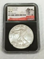 2017 American Silver Eagle 1 Ngc Ms70 First Day Issue Us Mint 225th Annive K832