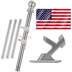 Inflation 6ft Flag Pole Kit - 3x5 Embroidery American Flag With 1 Tangle-free