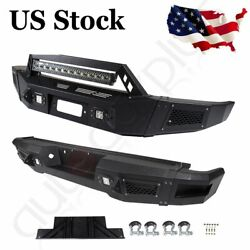 For Ford F 150 09-14 Steel Textured Complete Front+rear Bumper Guard+led Lights