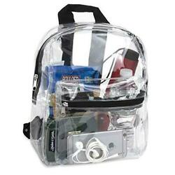 Water Resistant Clear Mini Backpacks for School Beach Stadium Approved Black $14.61