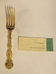 Gorham Strasbourg Gold 7-5/8long Tine Place Dinner Fork Vermeil Sterling Silver