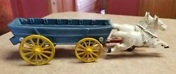 Vintage Cast Iron Toy 2-white Horses With Blue Covered Wagon Yellow Wheels