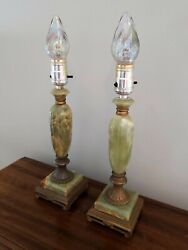 Vintage Pair of Boudoir Candlestick Lamps Green Onyx Working Art Deco