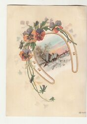 Shaw Piano Musical Instruments Pansies Horseshoe Farm In Snow Vict Card C1880s