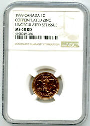 1999 Canada Cent Ngc Ms68 Rd Copper Plated Zinc - Only 1 Rare
