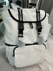 MICHAEL KORS The Michael Bag Large Slim Drawstring Flap Backpack Optic White $119.00