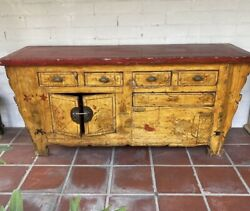 Antique Vtg Chinese Distressed Yellow Scroll Floral Sideboard Console Cabinet