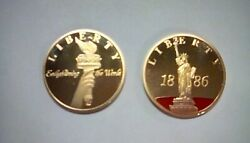 Statue Of Liberty Medallion Coins 125th Anniversary Gold Tone With Jewel