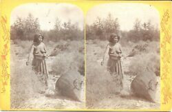 Hillers Powel Expedition Stereoview Andndash Topless Native Woman Gathering Seeds 1874