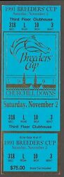 1991 Breeders Cup Horse Racing Admission Ticket -churchill Downs Clubhouse -mint