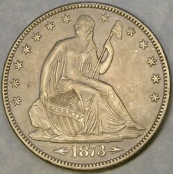1873 Liberty Seated Silver Half Dollar Gorgeous Choice Beauty Re Punch 3 In Date
