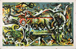 Pollock Style Large Canvas Hand Painted Oil Paintings - 48x30 The She Wolf 1943