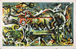 Pollock Style Huge Canvas Hand Painted Oil Paintings - 60x38 The She Wolf 1943