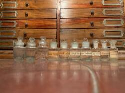 Vintage Antique Mexican Apothecary Chemist Lot Of 10 Mini Glass Bottles Jars 20s