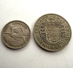 New Zealand 1 Shilling 1951 And 1/2 Crown 1948 Km17, 19 Ss6.2