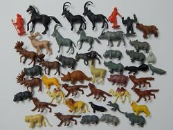 45 Pc Mixed Lot Of Vintage Dime Store Plastic Animals Toys Figures Hong Kong