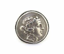 .ancient Large Celtic Celts Danube Silver Tetradrachm Greek Style Coin Ring 20g