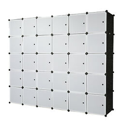 30 Cube Organizer Stackable Plastic Storage Shelves Closet Cabinet w 6 Hanger